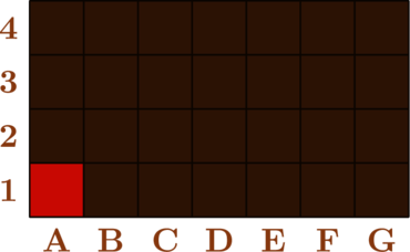 \begin{tikzpicture}[scale=1] \draw[fill=brown!60!black] (0,0) rectangle (7,4); \draw[fill=brown!40!red] (0,0) rectangle (1,1); \draw[thick, brown!30!black] (0,0) grid (7,4);  \foreach \x/\l in {1/A,2/B,3/C,4/D,5/E,6/F,7/G}   \node[below,scale=1.6,brown] at (\x-0.5,0) {\bf \l}; \foreach \y in {1,...,4}   \node[left,scale=1.6,brown] at (0,\y-0.5) {\bf \y};  \end{tikzpicture}