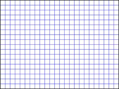 \begin{tikzpicture}[scale=0.7] \draw[step=0.5,blue] (0,0) grid (12,9); \draw[thick] (0,0) rectangle (12,9); \end{tikzpicture}