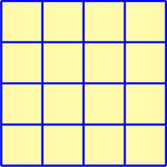 \begin{tikzpicture}[scale=1.2] \draw[fill=yellow!20,thin] (0,0) rectangle (4,4); \draw[blue,ultra thick] (0,0) grid (4,4); \end{tikzpicture}