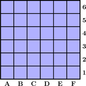 \begin{tikzpicture}[scale=0.9] \draw[ultra thick,fill=blue!15] (0,0) rectangle (6,6); \draw[very thick] (0,0) grid (6,6); \foreach \x/\w in {1/A,2/B,3/C,4/D,5/E,6/F}  {    \node[below,scale=1.15] at (\x-0.5,0) {${\mathbf \w}$};    \node[right,scale=1.15] at (6,\x-0.5) {\bf \x};   } \end{tikzpicture}